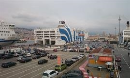 A busy port of Genova end of july with the ferry LA SUPREMA, which will hold next year's Ferry Shipping Conference