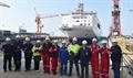 Representatives of Stena RoRo's site team and AVIC Weihai Shipyard prior to the float-out © AVIC Ship