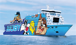 MOBY DADA will emerge from her overhaul in Genoa with a Looney Tunes livery -  © Moby Lines
