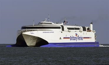 NORMANDIE EXPRESS will be renamed CONDOR VOYAGER for Condor Ferries service. © Maritime Photographic