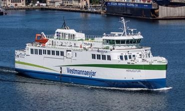 HERJÓLFUR was initially designed as a hybrid, but completed as a full-electric ferry © Peter Starenczak