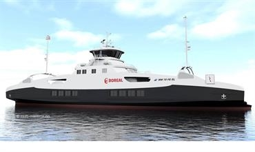Boreal fully electric ferry, expected delivery during Q3 2019 from Vard © Multi Maritime
