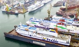 Full house at Remontowa Shiprepair Yard in Gdansk with PONT-AVEN berthed in front of Transfennica's GENCA. PONT-AVEN has meanwhile shifted to the floating dock earlier occupied by TT-Line's HUCKLEBERRY FINN. © Remontowa Shiprepair Yard