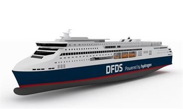 A preliminary artist's impression of what could potentially become a large-scale hydrogen-powered ro-pax ferry for DFDS service. © DFDS