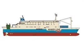 Marix Line's newbuild will boast three freight decks that are accessed via starboard and portside quarter ramps. © Marix Line
