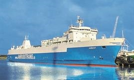 The 1990-built AMBAL is the youngest ship serving the Ust-Luga - Batliysk freight-only service © Anrusstrans Group