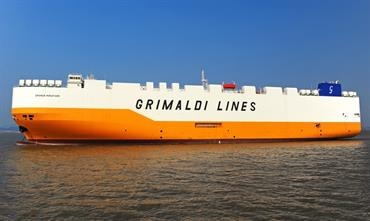 GRANDE MIRAFIORI is the second in a series of seven ships built by Yangfan © Grimaldi Lines
