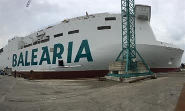 HYPATIA DE ALEJANDRIA is one of two LNG-powered ro-paxes under construction for Baleària © NAOS Ship and Boat Design