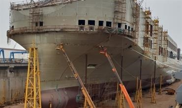 The lead-ship in the 6,700-lanemetre series - yard number 408 - taking shape at Jinling © DFDS