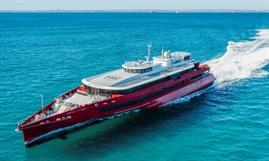 Austal Australia's 83m trimaran QUEEN BEETLE was designed in-house. © Austal