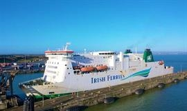 With its double-deck drive-through configuration, the 1997-built ISLE OF INISHMORE is suited for Dover-Calais service. © Rosslare Europort
