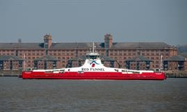 The freight-only RED KESTREL is under tow to the Solent © Red Funnel