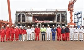 Keel laying of W0270 - the first lengthened version for Stena Line service. © CMI Jinling Weihai Shipyard