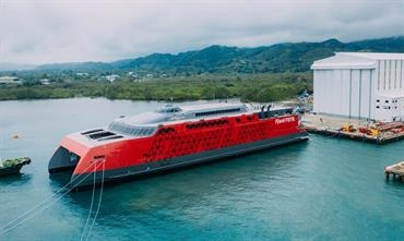 The 109m long Fjord FSTR. was launched on 7 February. © Austal
