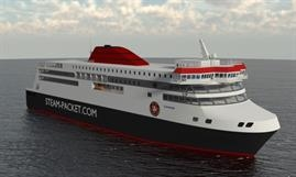 Artist's impression of the newbuild for Isle of Man services, the specifications of which have not been finalised yet. © Isle of Man Steam Packet Company