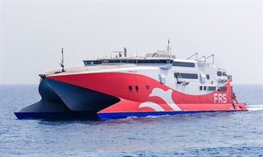 The Incat 86m wave piercing catamaran TARIFA JET will connect Mallorca with Menorca. © FRS