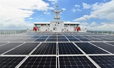 Supplied by Wuhan University, 350m² of solar panels are installed above the accommodation. © Jinling Shipyard