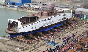 One of two Minor Class double-enders for BC Ferries ready to be launched at Damen Shipyards Galati © Damen Shipyards Group