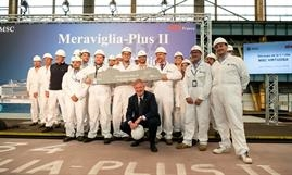 Steel cutting ceremony of MSC VIRTUOSA, the second Meraviglia-Plus ship © MSC Cruises
