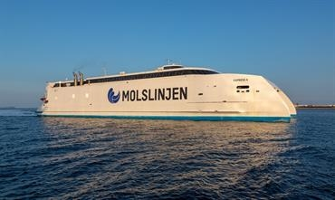 The 2019-built EXPRESS 4 is Moslinjen's most recent addition to the fleet. In October last year, Molslinjen ordered an Austal 115m ro-pax catamaran for its Bornholmslinjen division. © Marko Stampehl