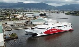 BUCCOO REEF has a capacity of 1,000 passengers and crew and 182 cars plus 175 freight lanemetres. © Incat Tasmania