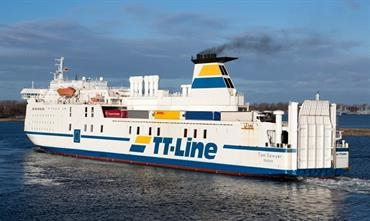 The 2,240-lanemetre and 400-passenger TOM SAWYER is one of two ro-paxes that will serve Klaipeda from Trelleborg © Marko Stampehl