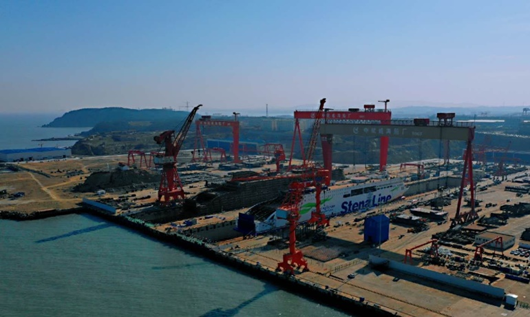 Aerial view of the shipyard in Weihai, the building place of the E-Flexers © AVIC Ship