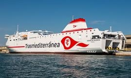 CIUDAD DE VALENCIA has now joined Armas-Trasmediterránea - its sister ship will be chartered bv GNV. © Frank Lose
