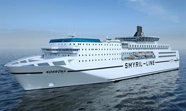 NORRÖNA will get a thorough facelift with a new cabin block and a panoramic café forward of the funnel. © Smyril Line