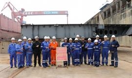 Keel laying ceremony on Monday 13 January. © DFDS