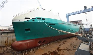 TASMANIAN ACHIEVER II in the building dock at Jinling  © Jinling shipyard