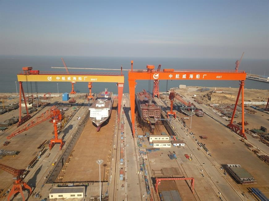 Four E-Flexers are in different construction stages now © AVIC Ship