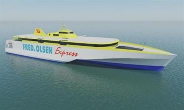 Austal will build two 117m high-speed trimarans for Fred. Olsen's Balearic ferry services © Austal