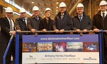 First steel cutting for Brittany Ferries' HONFLEUR © Brittany Ferries