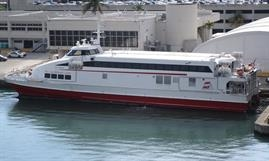 Following its acquisition by FRS in late 2016, SAN GWANN operated a service between Miami, Florida, and the Bahamian island of Bimini. © Kai Ortel