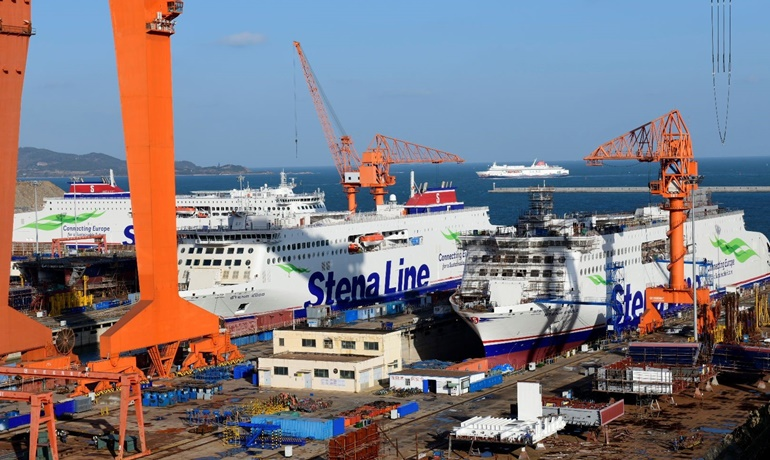 Four ro-pax ferries built by AVIC Weihai Shipyard - left to right: STENA ESTRID, STENA EDDA and STENA EMBLA. In the background is the 2018-built NEW GRAND PEACE, the first ever ro-pax built by the yard. © AVIC Ship