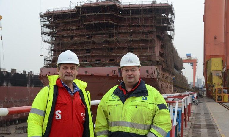 Per Westling, Stena RoRo's MD and Rikard Olsson, Stena RoRo's Project Manager for GLOBAL MERCY © Philippe Holthof