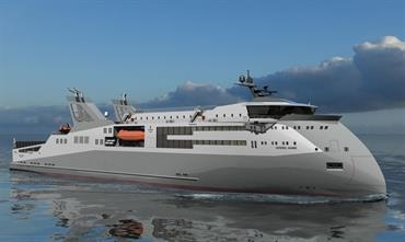 The shape of things to come? A compact ro-pax ferry with Ulstein's distinctive X-BOW © Ulstein Group