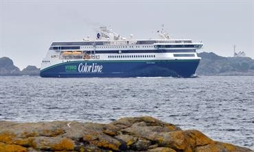 Although it will operate from Sandefjord, COLOR HYBRID also performed berthing trials in Larvik © Color Line