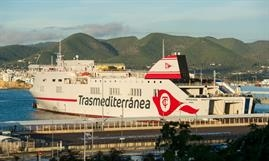 DIMONIOS has been renamed CIUDAD DE PALMA and is the first ship to display the new Trasmed livery © Trasmediterranea