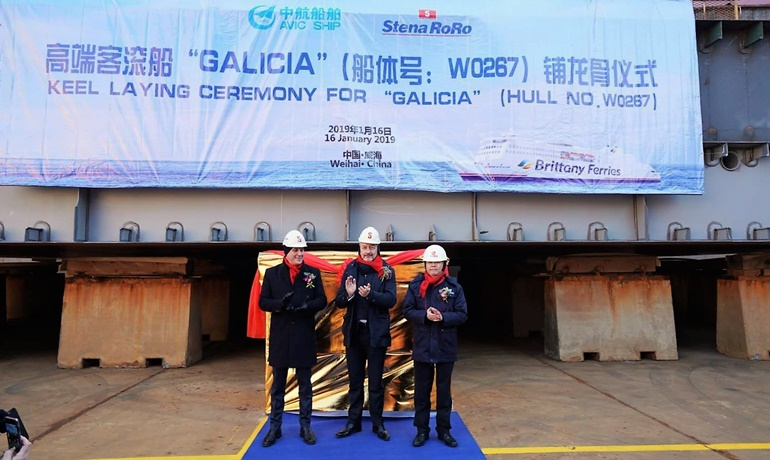GALICIA keel laying ceremony - Brittany Ferries' Christophe Mathieu in the middle © AVIC Ship