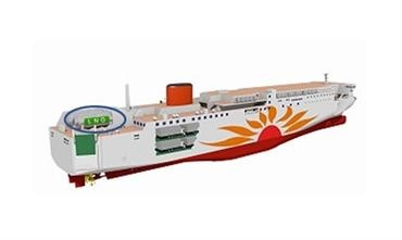 Artist's impression of Ferry Sunflower's LNG-powered newbuilds with on-deck LNG tanks © Mitsui O.S.K. Lines