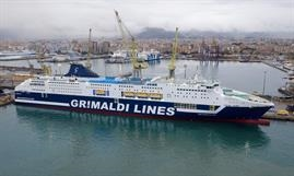 The lengthened, upgraded and freshly painted CRUISE ROMA is now a hybrid ferry with scrubbers © Grimaldi Group